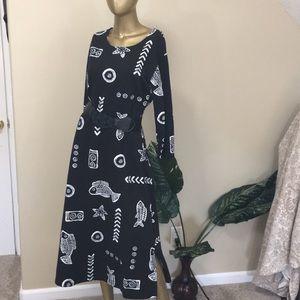 Vintage Dresses - Vintage fish long sleeve dress, large